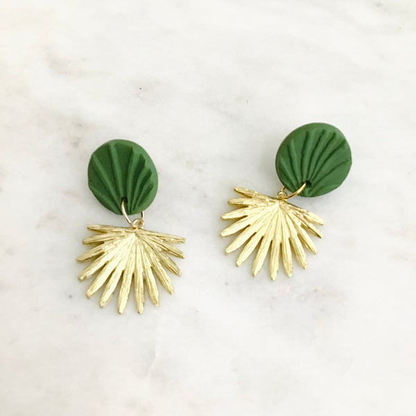 Green Textured + Petite Brass Palmetto