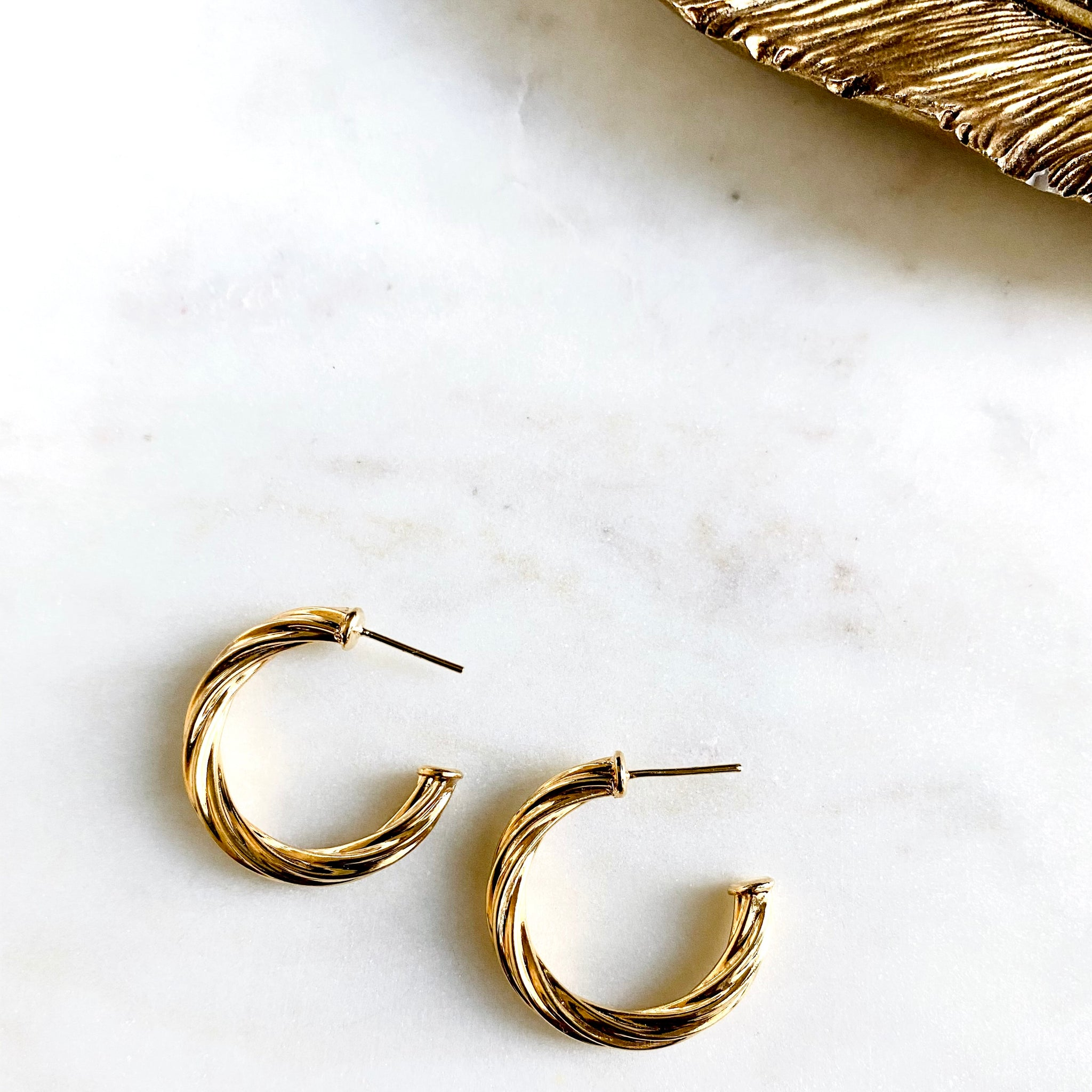 18K Gold Filled Textured Thick Hoops