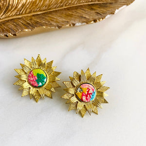 Brass Flower + Clay Studs