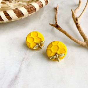 Yellow Honeycomb + Brass Bee Studs