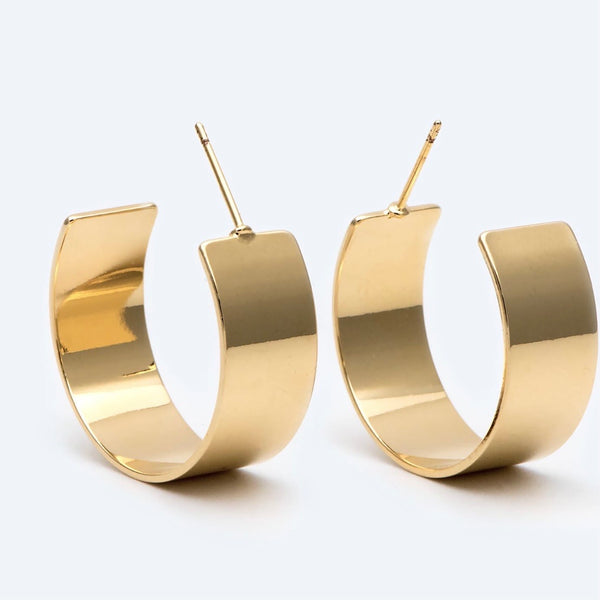 18K Gold Filled Wide Hoops