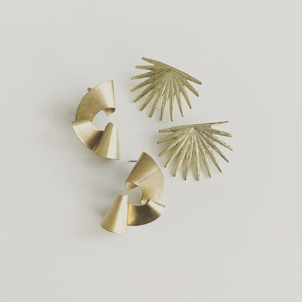 Brass Palmetto Leaf Studs