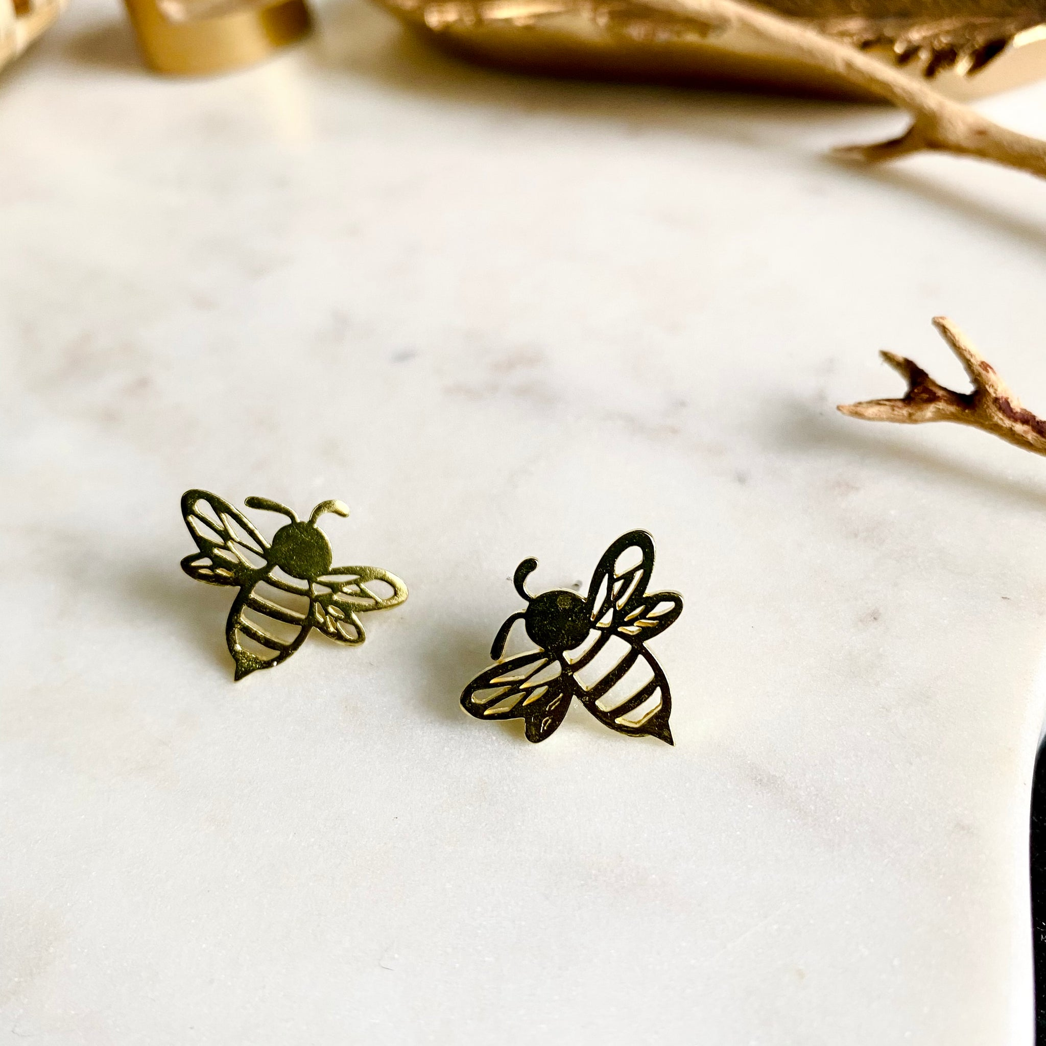 Logo Brass Honeybee Studs