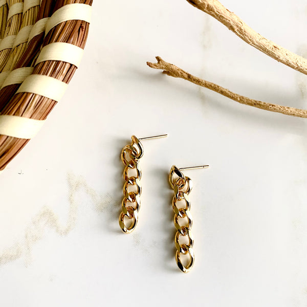 18K Gold Filled Chain Link Earrings