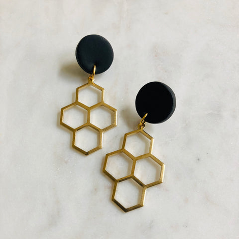 Black Textured Clay + Brass Honeycomb