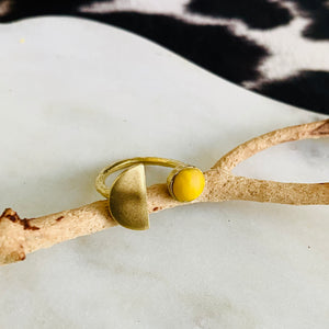 Sunshine Yellow Clay + Sun and Moon Brass Ring