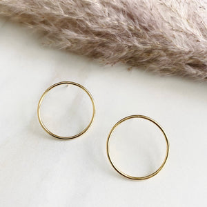 18K Gold Filled Modern Circular Studs