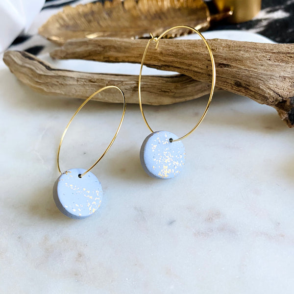 Gray Sparkle Clay + 18k Gold Filled Hoops