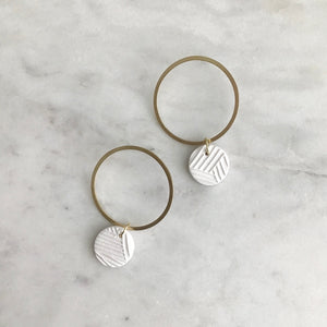 Blanc Textured Clay + Brass Hoops