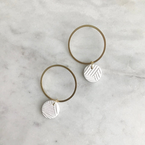 Blanc Textured Mix Clay + Brass Hoops