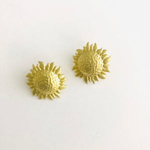 Brass Sunflower Studs