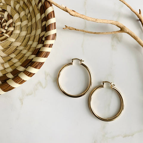 18K Gold Filled Lever Hoops