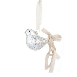 Jute tail glass bird ornament
