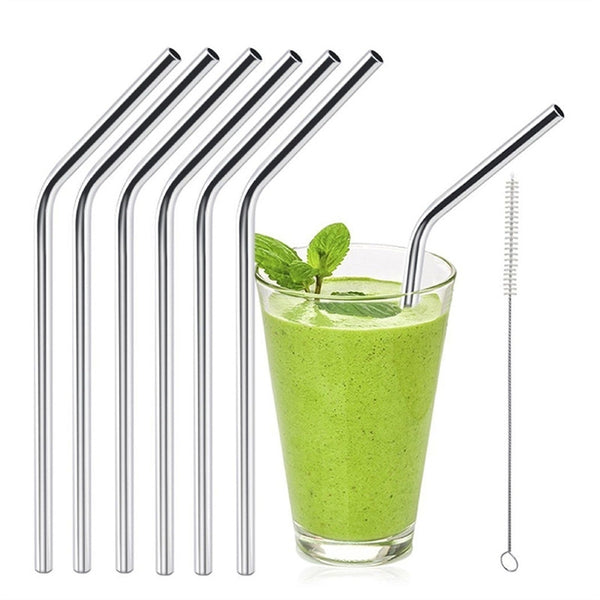 Reusable Curved Drinking Straws, 6 pcs, with Cleaning Brush