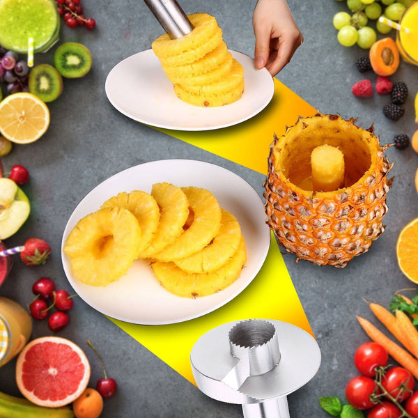 Pineapple Corer Slicer 3-In-1 Fast Peels And Slice, No Muss