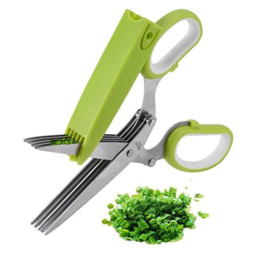 5 Blade Herb Kitchen Scissors, with Cleaning Comb Cover