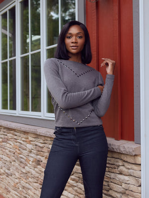 equestrian luxury soft sweater with stud embellishments