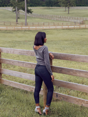 equestrian riding breeches inspired luxury jeans with stud embellishments