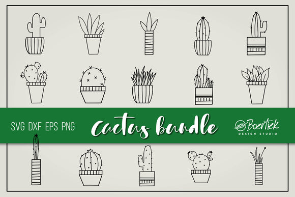 Hand drawn cactus bundle