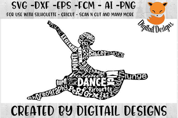 Dance Wordart Dancer Silhouette