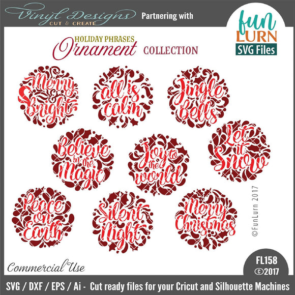 Holiday Phrases Ornament Collection Cut File