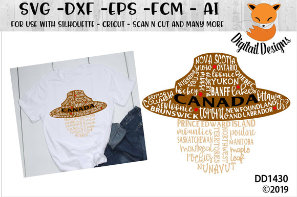 Canadian Mountie Hat Word Art SVG