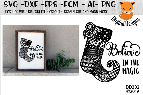 Zentangle Christmas Stocking SVG