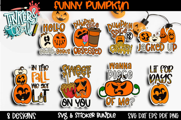 Digital Pumpkin Sticker Bundle - Digital Stickers - Pumpkin Stickers - Fall Stickers