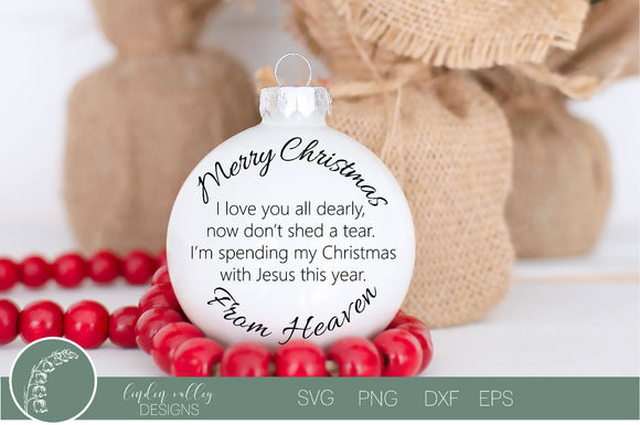 Christmas In Heaven Memorial SVG|Ornament SVG