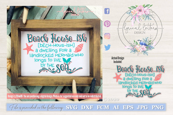 Beach House Ish SVG Cut File LL20Jan08