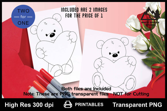Baby Bear's Big Heart, Valentine, PNG Transparent, Printable, Line Art