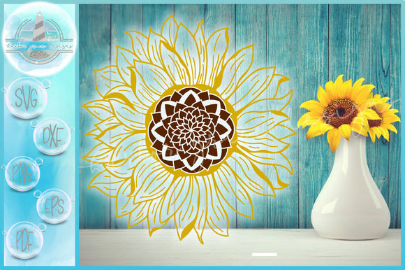 Sunflower Outline SVG | Flower svg | Floral SVG