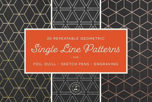 20 Geometric Single Line Patterns | Foil Quill designs SVG file for Cricut Silhouette Scan n Cut