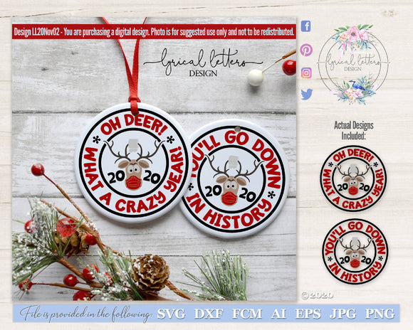 Reindeer 2020 Christmas SVG Cut File LL20Nov02