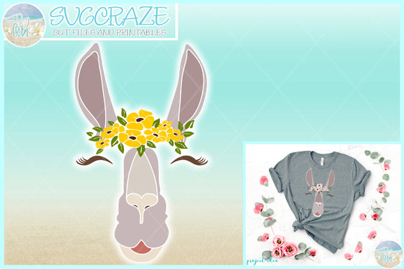 Llama Face with Flowers SVG Dxf Eps Pdf PNG Files for Cricut