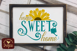 Home Sweet Home Sunflower Wood Sign SVG DXF Cut File