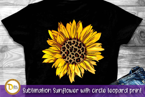 sublimation sunflower with circle leopard print