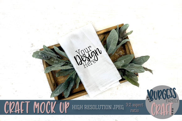 Christmas Flour Sack Tea Towel Tray | Craft mock up