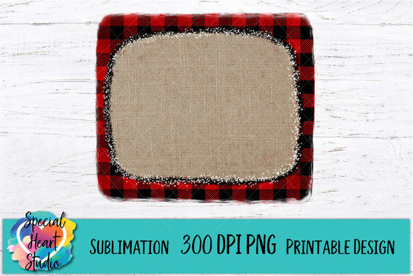 Buffalo Plaid Burlap Frame - PNG Printable