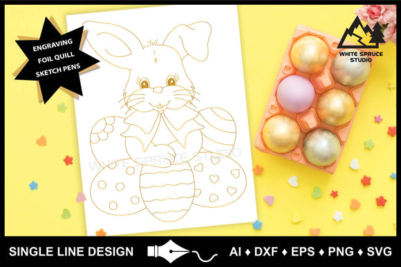 Single Line Design, Foil Quill, Foil Transfer, Easter Bunny, Easter Eggs, Engraving, Embossing, Drawing SVG