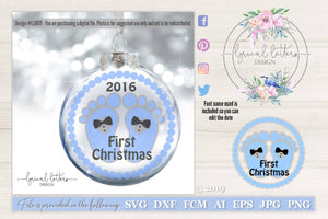 Baby's First Christmas Boy Version SVG Cut File