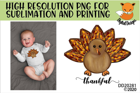 Thankful Turkey Sublimation Design