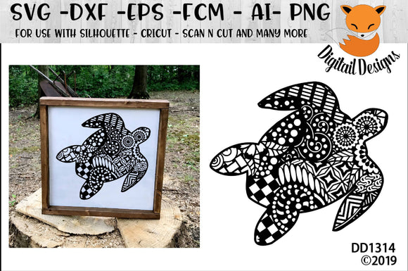 Zentangle Sea Turtle SVG