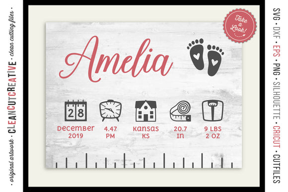 BABY BIRTH STATS RULER - newborn elements - SVG file for crafters
