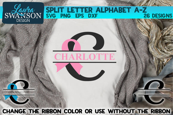Ribbon Split Letters A-Z | Split Monograms SVG Files