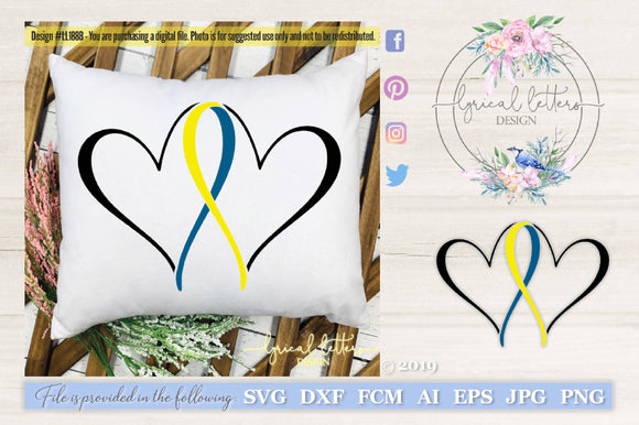 Down Syndrome Blue and Yellow Ribbon Hearts