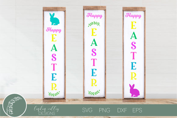 Hoppy Easter Porch Sign Set of 3 Version 3|Porch Sign|Easter SVG
