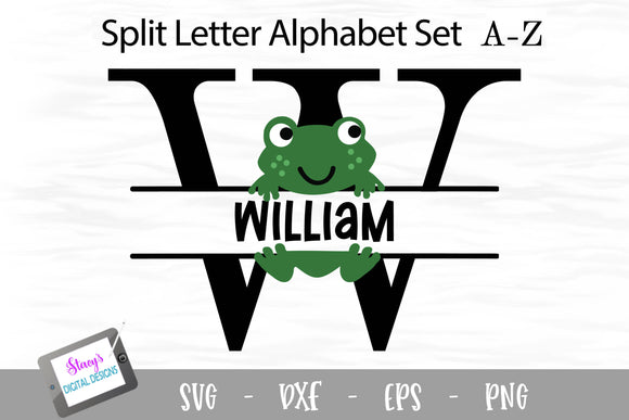 Frog Split Letters A - Z - 26 Split Monogram SVG Files