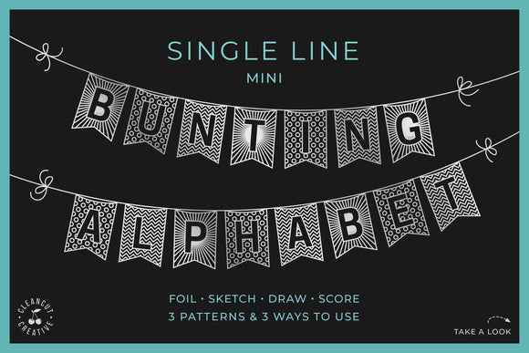 Flag banner svg MINI BUNTING ALPHABET | single line foil sketch draw score file