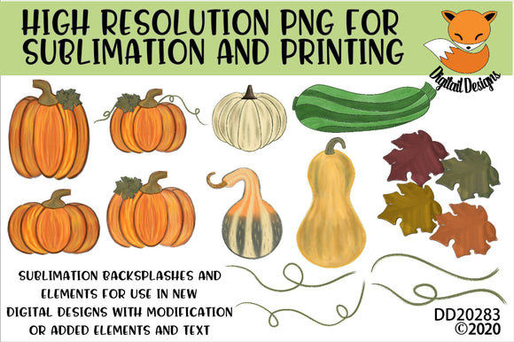 Fall Pumpkin Sublimation Elements